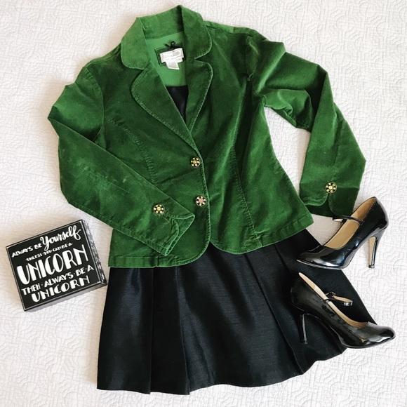 Live a Little Jackets & Blazers - green velvet blazer